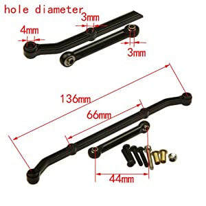 RC-CN 1 Set Silver Aluminum Steering Link Arm Tie Rod For Axial AX10 SCX10 Upgrade