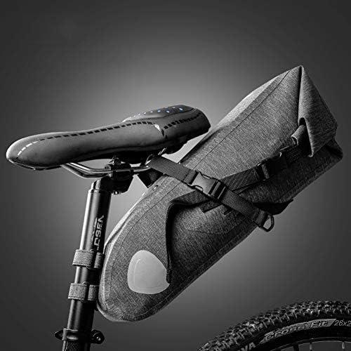 RBB-Bike Bag 防水 自転車用サドルバッグ、 サイクリングシートバッグ スポーツサドルバッグ、 軽量10L バイクテールバッグ 収納袋 またはロードバイクシート (Color : Gray)