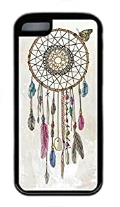 Custom Soft Black TPU Protective Case Cover for iPhone 5C,Dream Catchers Wind Chime Case Shell for iPhone 5C