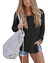 Womens Casual Long Sleeve Split Knitted T-Shirts Solid Color Henley Shirt Tops