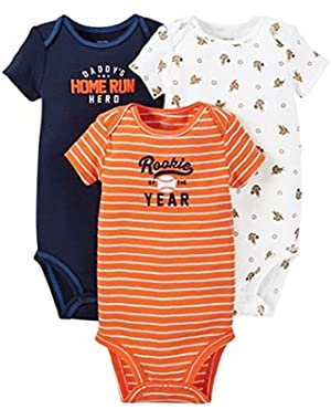 Just One You Baby Boys' Baseball 3-Piece Bodysuit Set - Blue/Orange
