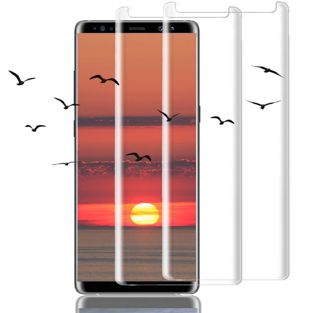 [2Pack] Galaxy Note 8 Screen Protector, 3D Full Screen Coverage Glass [Curved] [Bubble-Free] [9H Hardness] [Anti-Scratch] Clear Galaxy Note 8 Tempered Glass Screen Protectors for Samsung Galaxy Note 8 by AsianiCandy (Image #1)