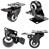 Homself 2inch Heavy Duty Caster Wheels Polyurethane PU Rubber Swivel Casters with 360 Degree Top Plate 600 lbs Capacity for The Set of 4 with Brakes (2inch Black)