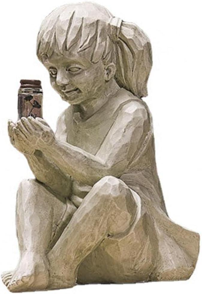Yililay Garden Children Solar Lighted Firefly Jar Girl Statue Sculpture Decor Outdoor Ornaments for Flowerbed Yard Art