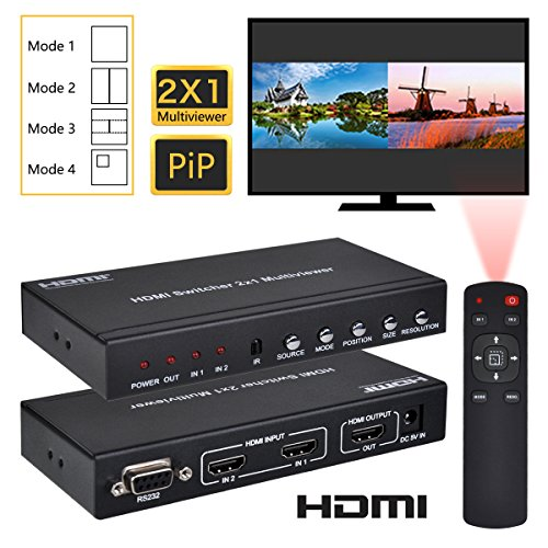 - HDMI 2X1 MultiViewer, 1080P 2 in 1 Out HDMI Switch Screen Splitter with PIP Mode, Support Cascading with IR Remote RS232 for Education, IT Business, Gaming Studio, Surveillance, etc.