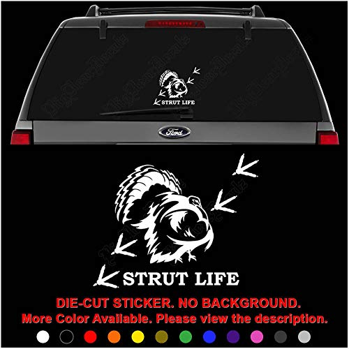 - Strut Life Turkey Hunting Track Print Die Cut Vinyl Decal Sticker for Car Truck Motorcycle Vehicle Window Bumper Wall Decor Laptop Helmet Size- [8 inch] / [20 cm] Wide || Color- Gloss White