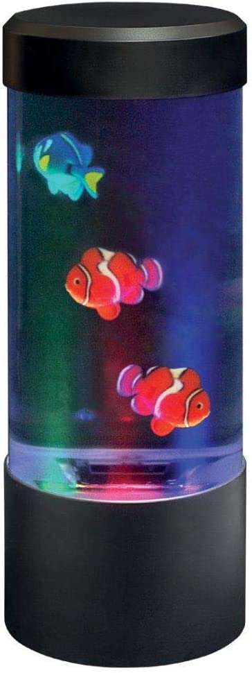 Lightahead LED Mini Desktop Fantasy Jellyfish/Fish Lamp with Color Changing Light Effects. A Sensory Synthetic Jelly Fish Tank Aquarium Mood Lamp. Excellent Gift