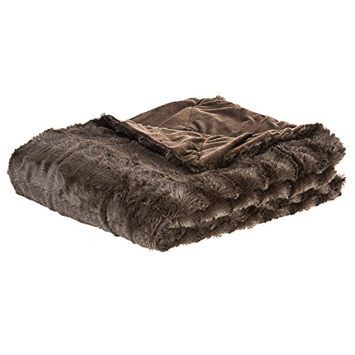 Cheer Collection Ultra Soft Faux Fur to Microplush Reversible Cozy Warm Throw Blanket - 60' x 50' - Chocolate