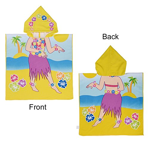 Uarter Cotton Baby Kid Bath Towels Hooded Towel Hula Girl Pattern Extra Soft, Water Absorption Quality, Quick-dry
