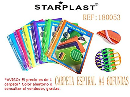 Starplast 180053 - Carpeta espiral multifinda con 60 fundas de tamaño A4