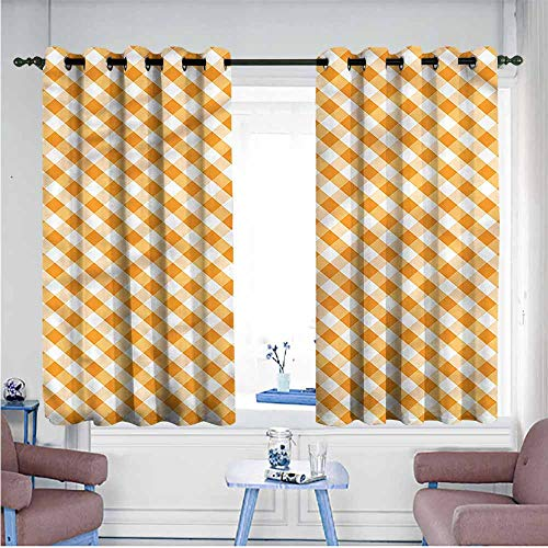 (Mdxizc Sliding Curtains Checkered Orange Gingham Tile Printing Insulation W63 xL63 Suitable for Bedroom,Living,Room,Study, etc.)