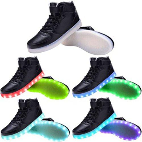 Presente da USB Colori Donna junglest Scarpe Alla LED nero Luminosi Sport Asciugamano Camminata noir Scarpe da Uomo 7 Unisex 1 Lampeggianti Carica Piccolo Moda Af7ww8Fqdx