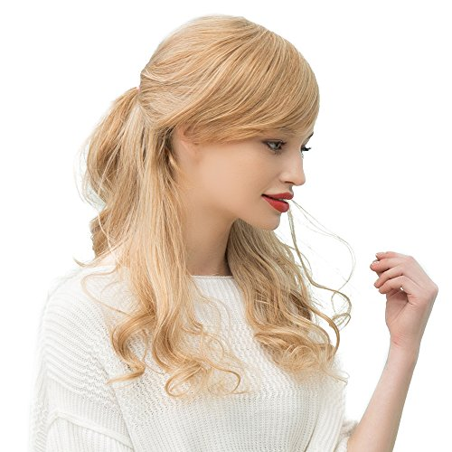 Asifen Long Body Wavy with Side Bangs Human Hair Wigs for Women(Color 2 Natural Black) (Black Long Wig With Two Braids)