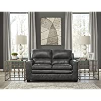 Gleason Contemporary Leather Charcoal Color Loveseat