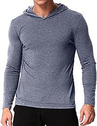 Men's Long Sleeve Hoodies Casual Hooded Sweatshirts V Neck Tee Shirts Tops