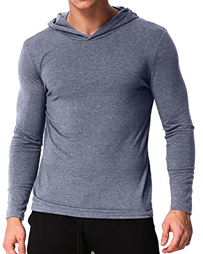 PODOM Men's Long Sleeve Hoodies Hooded Sweatshirts Tee Shirts Cotton V Neck Tops Light Grey (Hooded Pullover Shirt)