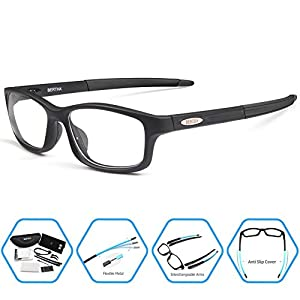 Bertha Sports Glasses With Interchangeable Arms for Men Running Fishing Golf Baseball Glasses 004 (Black)