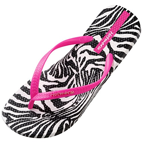 (Hotmarzz Women's Flip Flops Floral Pattern Sandals Colorful Summer Slippers, 4 B(M) US / 35 EU / 36 CN, Zebra Stripe, Rose Red)