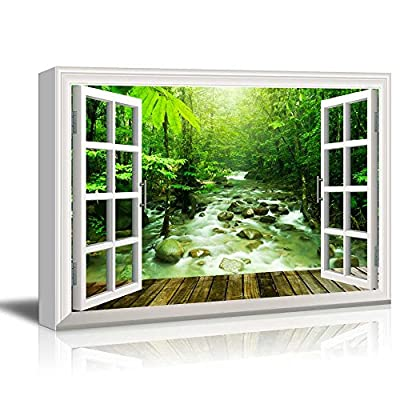 Canvas Wall Art - Window Peering into a Dense Forest with a Flowing River - Giclee Print Gallery Wrap Modern Home Art Ready to Hang - 12x18 inches