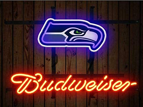 """Queen Sense 17""""x14"""" Bud weisers Seattle SeahawkNeon Sign (VariousSizes) Beer Bar Pub Man Cave Glass Light Lamp BW154"""
