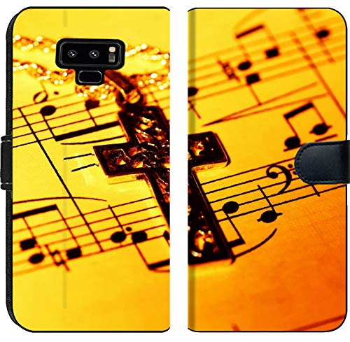 Liili Premium Samsung Galaxy Note9 Flip Micro Fabric Wallet Case Crucifix and Sheet Music Image ID 279002