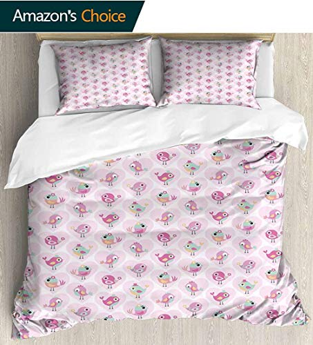 shirlyhome Love Bedding Sets Duvet Cover Set,Funny Cute Birds in Valentines Hearts with Hats and Flowers Childish Bedspreads Beach Theme Quilt Cover Children Comforter Cover 87