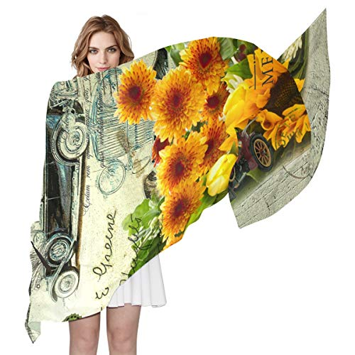 Women's Silk Scarf Sunflower Scarves Shawls Silk Long for sale  Delivered anywhere in Canada