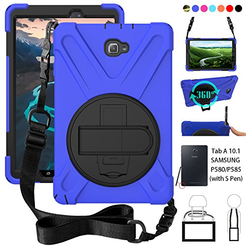 P580 Case, Galaxy Tab A 10.1 (with S Pen) Case, Shockproof High Impact Resistant Heavy Duty Armor Cover with Hands Strap Shoulder Belt for Samsung Galaxy Tab A 10.1 P580 P585 (S Pen Version),Blue