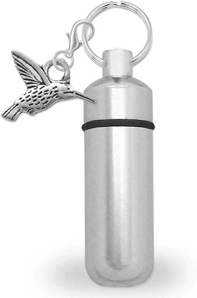 Mini Urn Cremation Ashes Holder Key Chain Hummingbird Charm Funeral Memorial Vial Grieving Keepsake