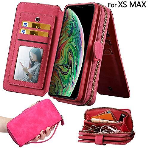 Wallet Case for iPhone Xs Max,Zipper Detachable Magnetic 12 Card Slots Card Slots Money Pocket Clutch Cover Zipper Wallet Purse Case for Women (HotPink)