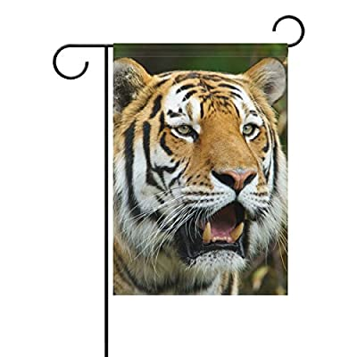 "Home Polyester Fabric Garden Flags, Tiger Pattern Print Mildew Resistant Custom Waterproof Outdoor Flag,12"" x 18"""