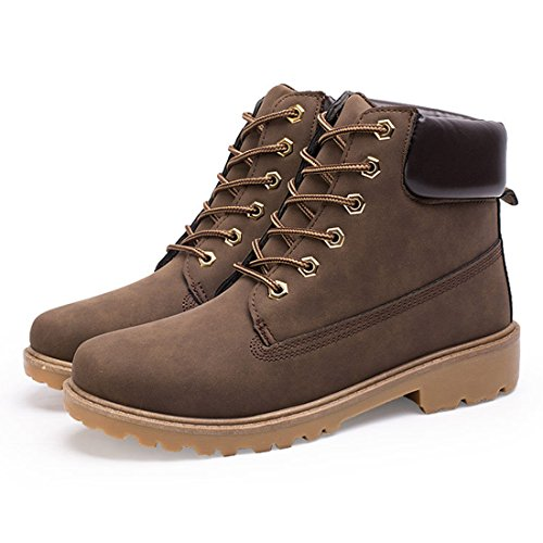 O&N Mens High Top Casual Lace Up Martin Boots Snow Ankel Boot Work Shoes Brown 0Q6sJ3mY