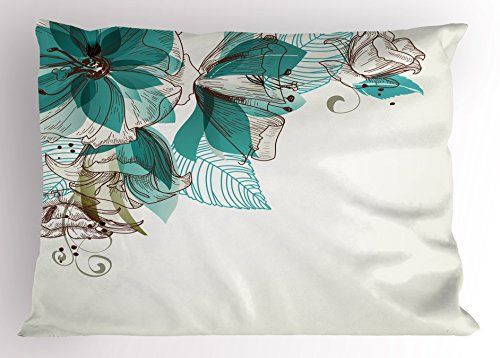 Ambesonne Turquoise Pillow Sham, Flowers Buds Leaf at The top Left Corner Season Celebrating Theme, Decorative Standard Size Printed Pillowcase, 26