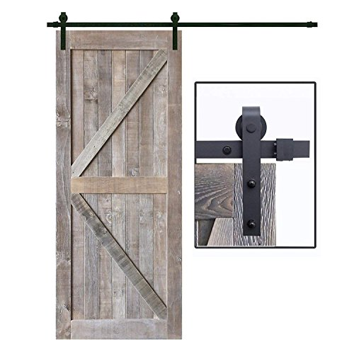 "FOUR CLOVER 36"" x 84"" Vintage Rustic Weathered Reclaimed Wood Bran Door Arrow Solid Core Plank Knotty Pine Sliding Interior Barn Door Slab"