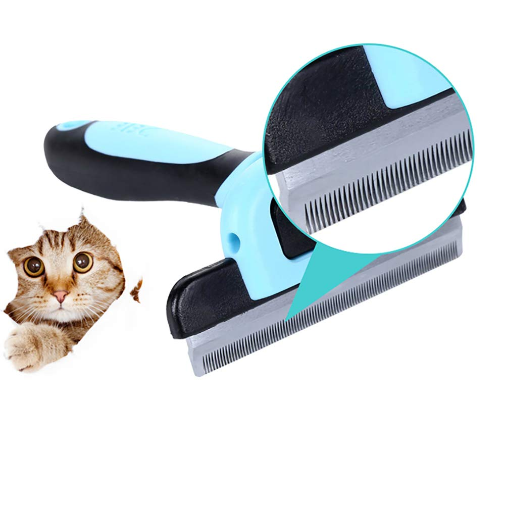 JFS Deshedding Tool & Pet Grooming Brush Dog Brushes for Shedding with Short to Long Hair Dramatically Reduces Shedding-for All Dogs Or Cats-Blue,L