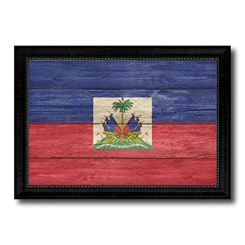 Haiti Country Flag Texture Canvas Print, Wood Grain Black Picture Frame Gift Ideas Home Decor Wall Art - Haiti Flag Country