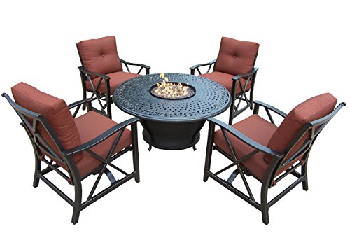 Oakland Living 5 Piece Charleston Deep Sitting Chat Set, Antique Bronze (Chair Vienna Kids)