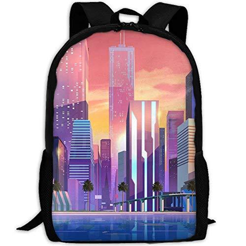 Skyscrapers Print Custom Casual School Bag Backpack Multipurpose Travel Daypack For Adult