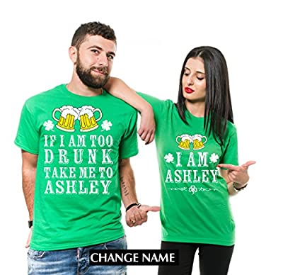 Silk Road Tees Custom Name ST. Patrick's Day Drinking Shirts Party Couple Matching Funny Pub Shirts Green Unisex Shirts Change Name