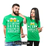Silk Road Tees Custom Name ST. Patrick's Day Drinking Shirts Party Couple Matching Funny Pub Shirts Green Unisex Shirts Change Name Men XXXXXL - Women Medium