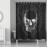 Generic Webbed Skull Shower Curtain in Black/White