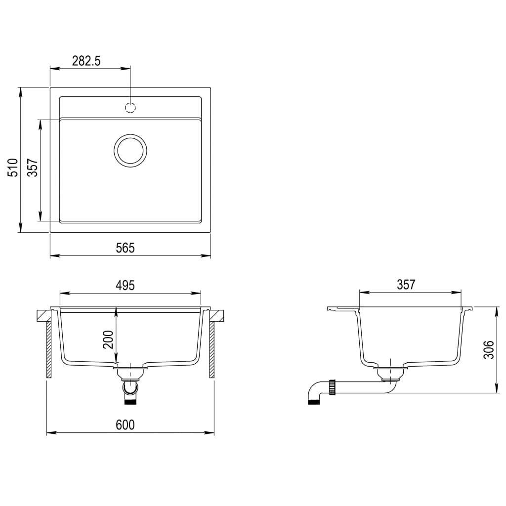 Tidyard Fregadero de Cocina Fregadero de Granito Fregadero de Cocina de Granito con 1 Seno Beige 565 x 510 x 306 mm