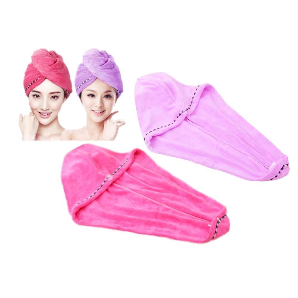 JZK 2x Asciugamani per capelli in microfibra a rapida asciugatura con bottoni per spa, bagno e doccia, rosa e viola