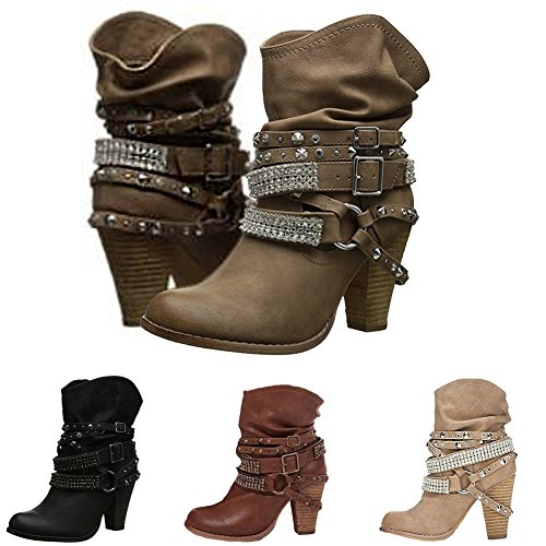 Elegant Casual Winter Minetom Ladies Bootie Boots Retro Rivet Fashion Shoes Women Decor Heels Block Warm Brown High Sexy Ankle XHwgxgtq