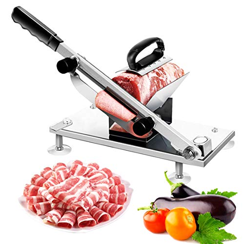 Manual Frozen Meat Slicer, Stainless Steel Meat Cutter Beef Mutton Roll Meat Cheese Food Slicer Vegetable Sheet Slicing Machine, Deli Slicer for Home Kitchen (The Best Frozen Vegetables)