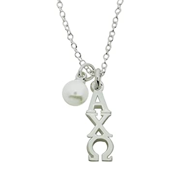 Amazon alpha chi omega with glass pearl greek sorority alpha chi omega with glass pearl greek sorority lavalier pendant with chain 16 inches silver plated mozeypictures Gallery