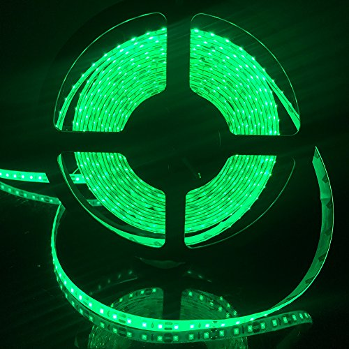 FAVOLCANO LED Light Strip, Green IP65 Waterproof LED Tape Light, SMD 3528, 600 LEDs 16.4 Feet5M LED Strip 120 LEDs/M Flexible Tape Lighting