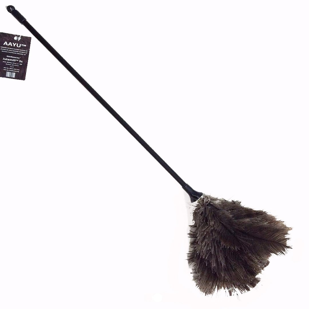 AAYU Brand Premium Professional Feather Duster | Natural Duster for Cleaning and Feather Moping | 26'' Inch Long | Genuine Ostrich Feather Duster with Plastic Handle | Eco-Friendly | Easy to Clean Dust