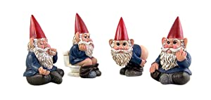 Four Naughty Gnomes Set of 4 Home Decor Statues 4 Inch