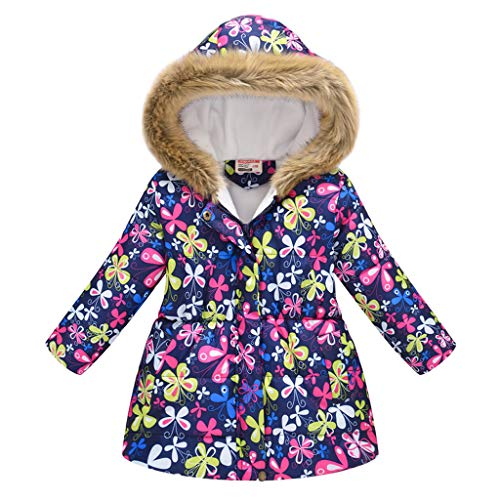 Cegduyi Toddler Baby Kid Girls Floral Winter Car Thick Warm Parkas Hooded Windproof Coat Outwear Jacket